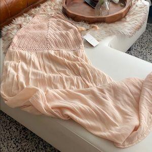 zara | pink crochet halter maxi dress LRG